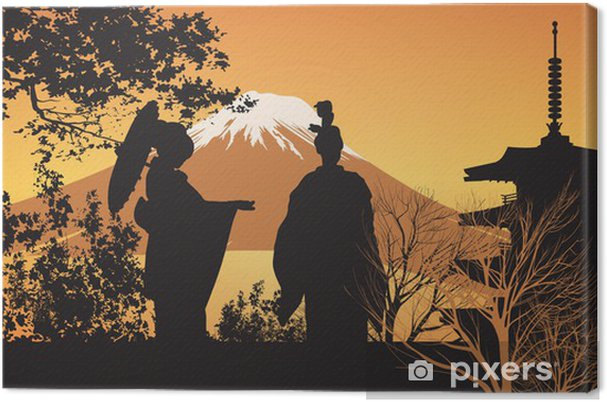 Cuadro en Lienzo Geisha y Pagoda - Japón