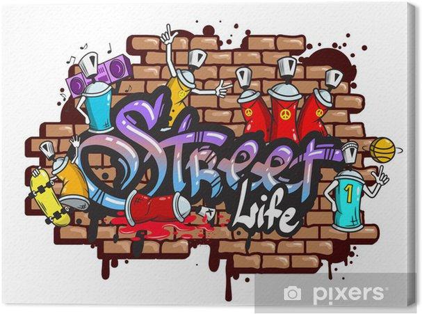 Cuadro en Lienzo Graffiti composición caracteres de palabra - Vinilo para pared