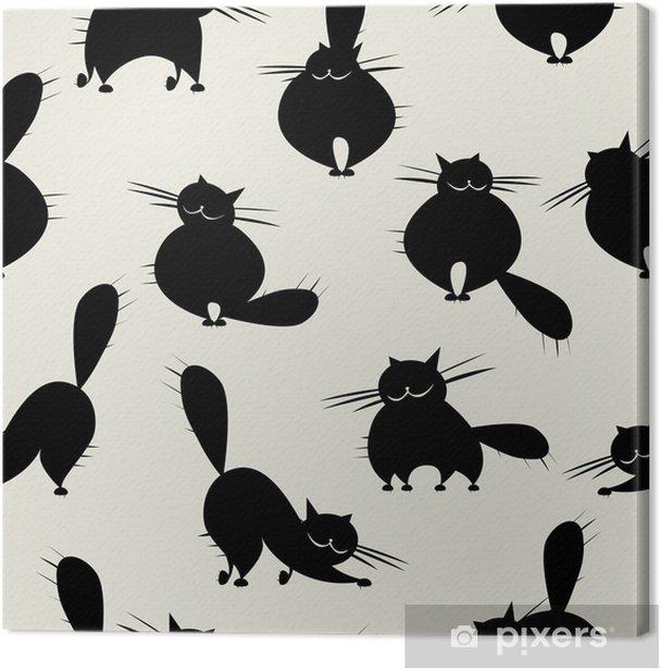 Cuadro en Lienzo Grandes gatos divertidos, patrón transparente para su diseño - Mamíferos