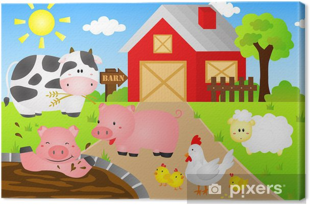 Cuadro en Lienzo Granero Animales - Para niño