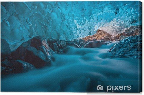 Cuadro en Lienzo Grotta di ghiaccio azzurro con ruscello sottostante islanda europa - Recursos gráficos