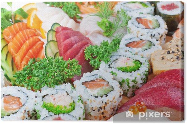 Cuadro en Lienzo Grupo de alimentos de lujo, el caviar sushi, salmón de cerca. - Sushi