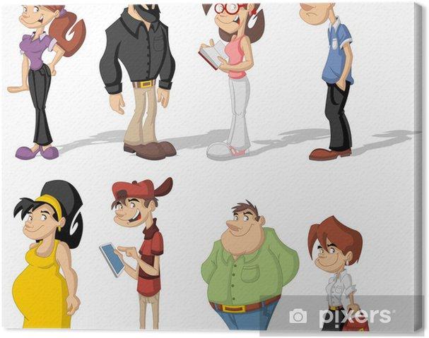 Cuadro En Lienzo Grupo De Personas De Dibujos Animados