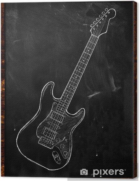 Cuadro En Lienzo Guitarra Eléctrica De Dibujar En La Pizarra