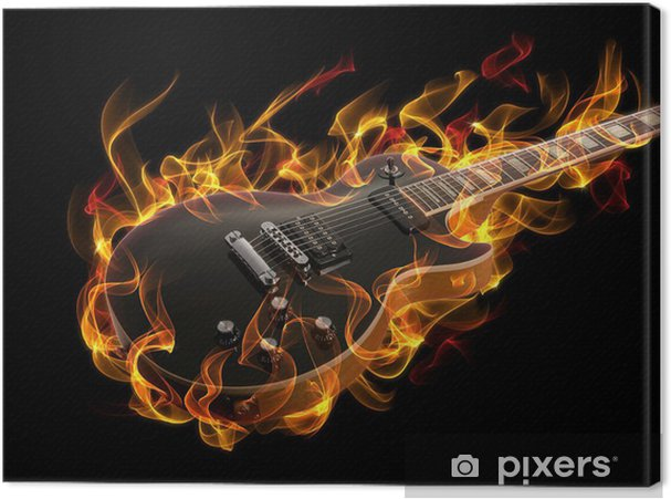 Cuadro en Lienzo Guitarra eléctrica en fuego y llamas - Jazz