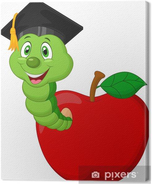Cuadro en Lienzo Gusano llevaba una gorra de graduación de secundaria que se arrastra de una manzana - Frutas