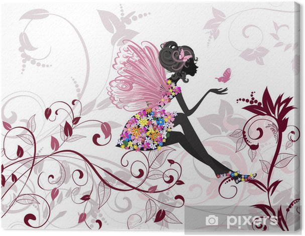 Cuadro en Lienzo Hada de las flores con las mariposas -