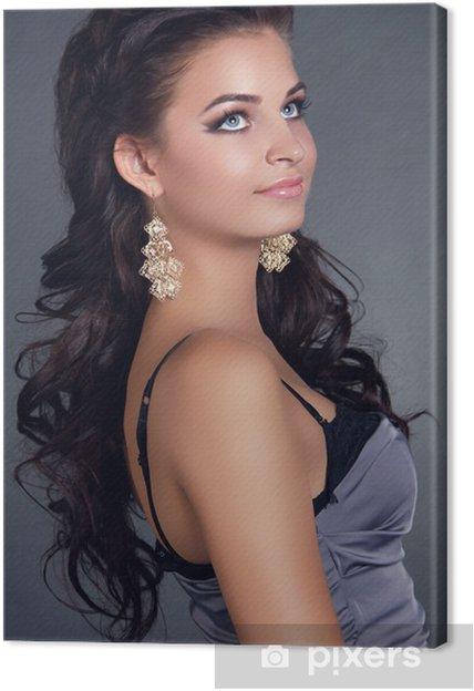 Cuadro En Lienzo Hair Belleza Mujer Con El Pelo Largo Negro