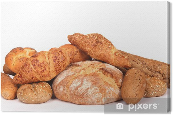 Cuadro en Lienzo Hay varios tipos de pasteles en el fondo blanco - Arroz