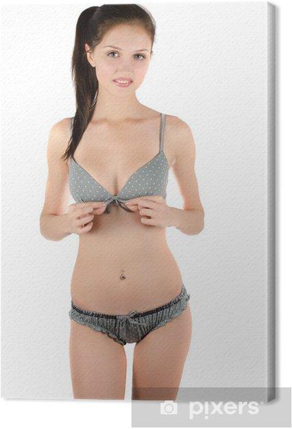87914ad2ad Cuadro en Lienzo Hermosa chica en una ropa interior • Pixers ...