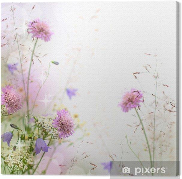 Cuadro en Lienzo Hermosa frontera floral en colores pastel - fondo borroso - iStaging