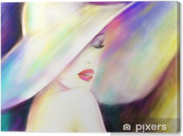 Cuadro en Lienzo Hermosa mujer con sombrero. Ilustración de moda - Gente ee95a17bc2d