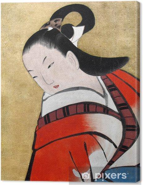 Cuadro en Lienzo Hermosa mujer japonesa vestida kimon tradicional - Estilos