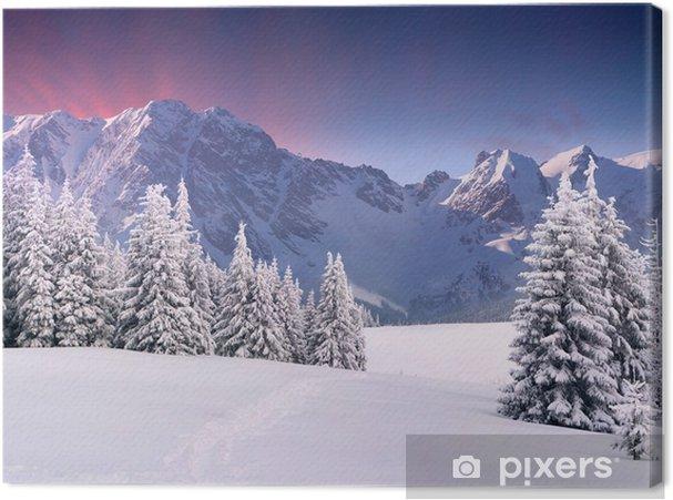 Cuadro en Lienzo Hermoso paisaje de invierno en las montañas. Salida del sol - Temas
