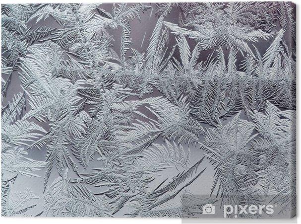 Cuadro en Lienzo Hermoso patrón de heladas de invierno de cristales transparentes frágiles en el cristal - Recursos gráficos