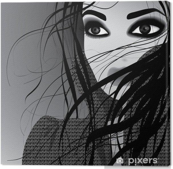 Cuadro en Lienzo Hermoso retrato de mujer   bosquejo blanco Negro-y-young 3bd46574c5d