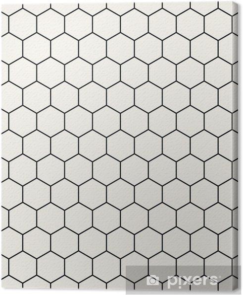 Cuadro en Lienzo Hexágono geométrico blanco y negro patrón gráfico - Recursos gráficos