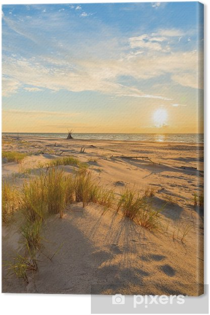 Cuadro en Lienzo Hierba en la duna de arena y puesta de sol sobre la playa de leba, mar Báltico, Polonia - Viajes