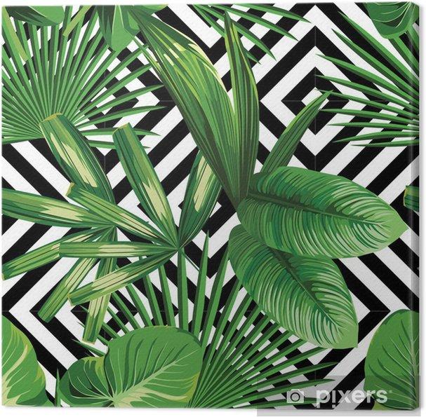 Cuadro en Lienzo Hojas de palmera tropical modelo, fondo geométrico - Canvas Prints Sold