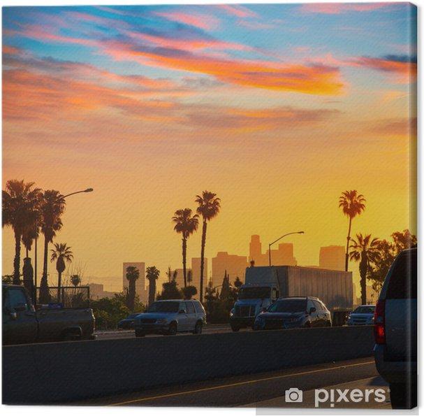 Cuadro en Lienzo Horizonte de la puesta del sol LA Los Angeles con el tráfico de California - Temas