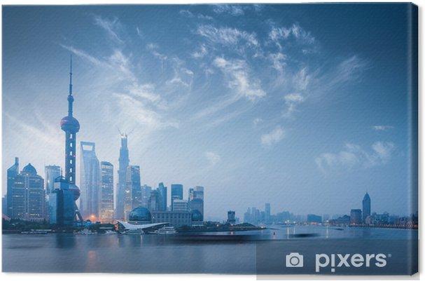 Cuadro en Lienzo Horizonte de Shangai en el amanecer - Agua