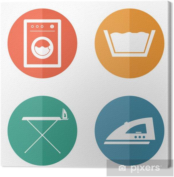 Cuadro en Lienzo Iconos Cuarto de lavado - Señales y símbolos