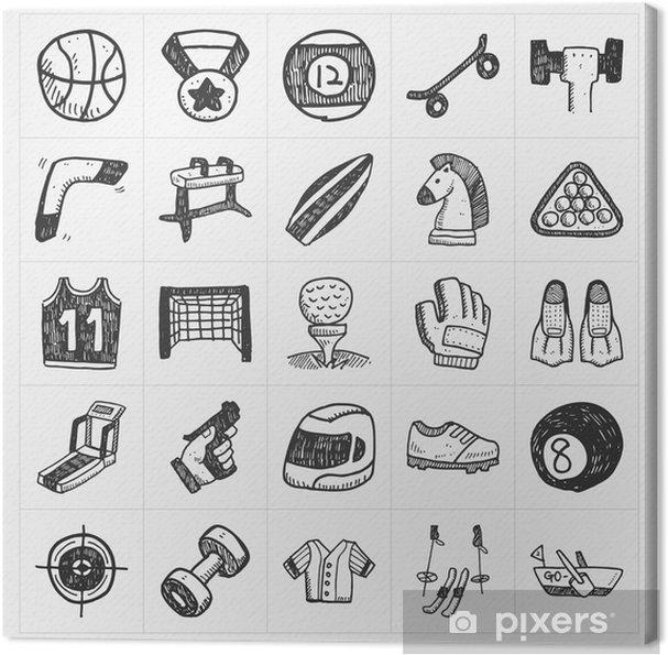 Cuadro en Lienzo Iconos del deporte del doodle - Fondos