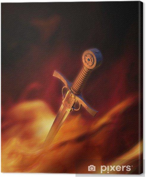 Cuadro en Lienzo Ilustración 3D de una espada medieval en el fuego - Esoterismo