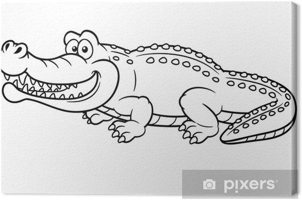 Cuadro En Lienzo Ilustración De Cocodrilo De Dibujos Animados Libro Para Colorear