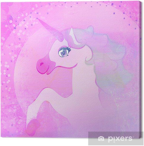 Cuadro en Lienzo Ilustración de color de rosa hermoso unicornio. - Unicornios