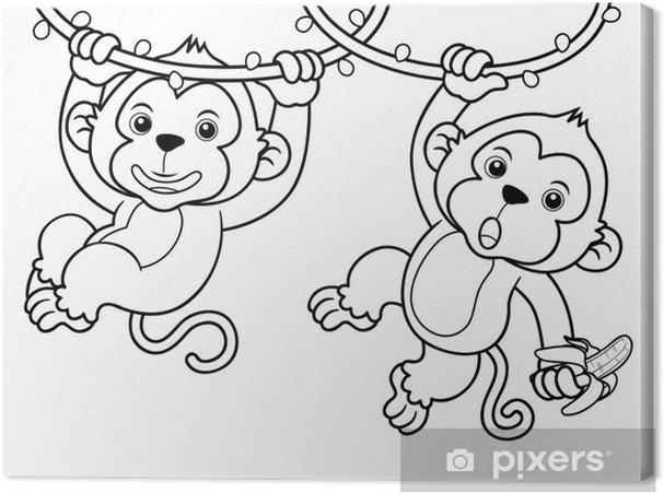 Cuadro En Lienzo Ilustración De Dibujos Animados De Monos Libro Para Colorear