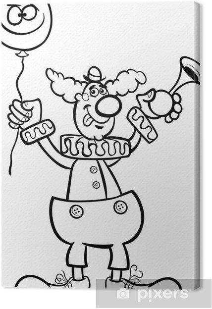 Cuadro En Lienzo Ilustración De Dibujos Animados De Payaso Para