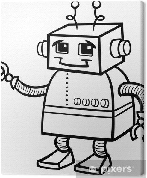 Cuadro En Lienzo Ilustración De Dibujos Animados De Robot Para Colorear