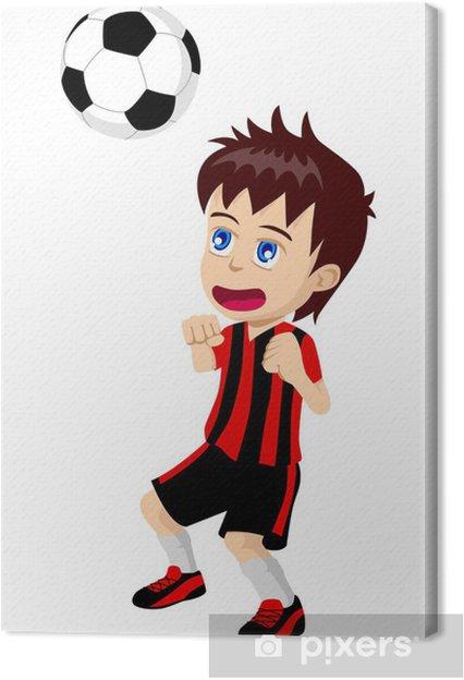 Cuadro En Lienzo Ilustración De Dibujos Animados De Un Niño Jugando Fútbol