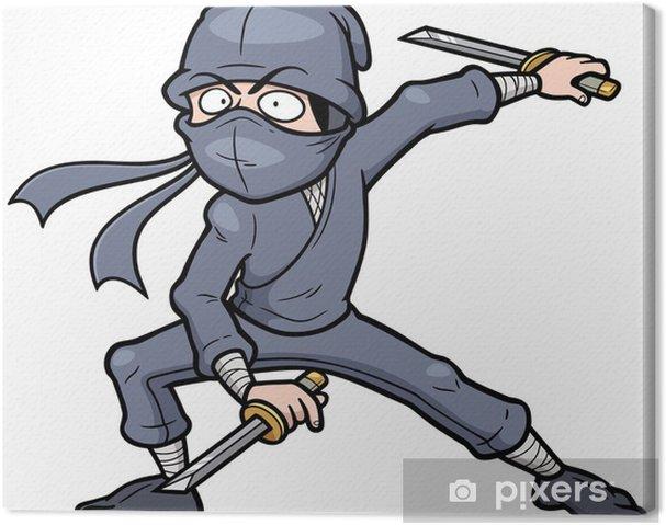 Cuadro en Lienzo Ilustración del vector de Ninja Cartoon - Hombres