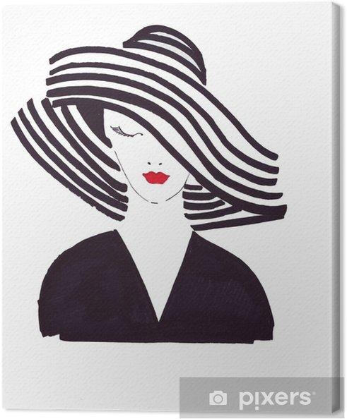 Cuadro en Lienzo Ilustración dibujar un retrato de una bella mujer con un  sombrero de rayas negro a83e0aa06c2