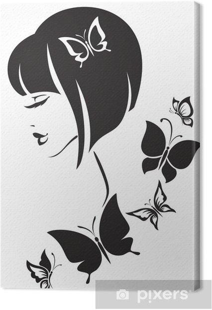 Cuadro en Lienzo Ilustración en blanco y negro de la mujer elegante ... d2104f58ed4