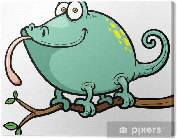 Cuadro en Lienzo Ilustración vectorial de dibujos animados Camaleón - Vinilo para pared