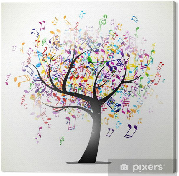 Cuadro en Lienzo Ilustración vectorial de un fondo abstracto con notas de música -