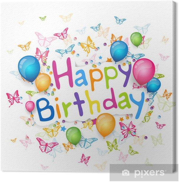 Cuadro en Lienzo Ilustración vectorial de una tarjeta de felicitación del feliz cumpleaños - Celebraciones