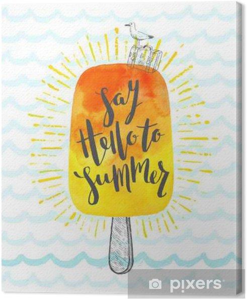 Cuadro en Lienzo Ilustración vectorial vacaciones de verano dibujado a mano con pincel de caligrafía - Hobbies y entretenimiento