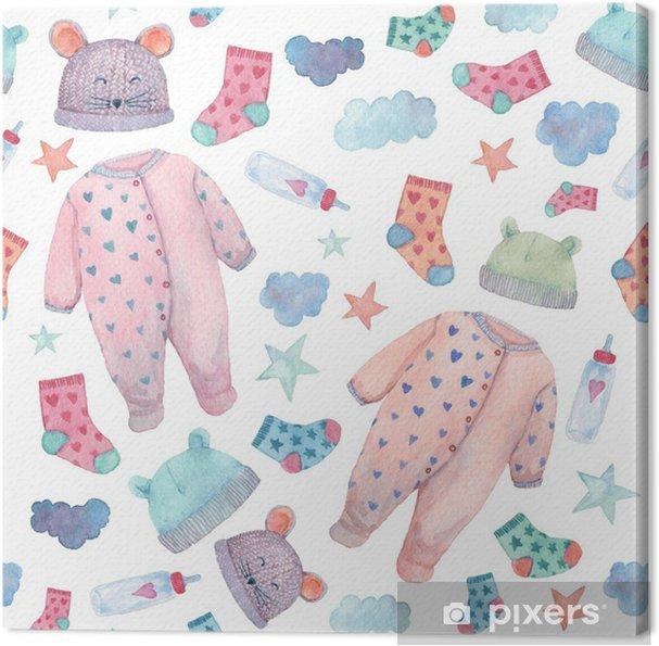 Cuadro en Lienzo Ilustraciones de ropa de bebé en un patrón sin costuras.  cosas lindas en colores suaves: mamelucos, calcetines, sombreros y ...
