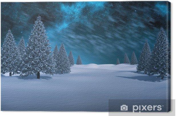 Cuadro en Lienzo Imagen compuesta del blanco paisaje nevado con los abetos - Vacaciones