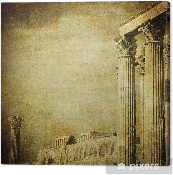 Cuadro en Lienzo Imagen de la vendimia de columnas griegas, la Acrópolis, Atenas, Grecia - iStaging