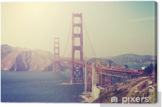 Cuadro en Lienzo Imagen entonada vintage del puente Golden Gate, san francisco. - Viajes