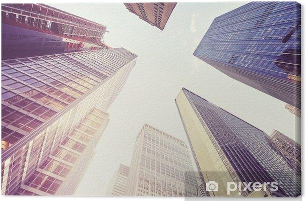 Cuadro en Lienzo Imagen estilizada vintage de los rascacielos de ...