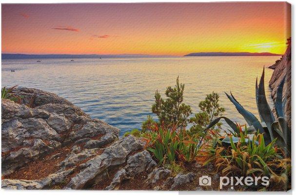 Cuadro en Lienzo Impresionante puesta de sol sobre un mar, Makarska, dalamatiano, Croacia - Mar y océano