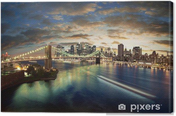 Cuadro en Lienzo Increíble paisaje urbano de Nueva York - tomada después de la puesta del sol - Temas