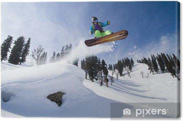 Cuadro en Lienzo Increíble salto en un snowboard - Invierno