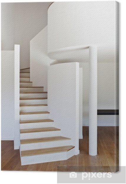 Cuadro En Lienzo Interior De La Casa Moderna Escalera Piso De Parquet
